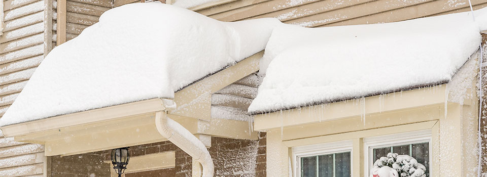Snow piled on roof