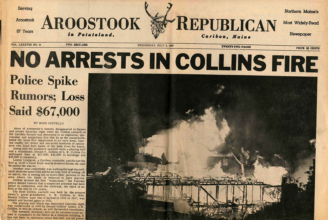 Newspaper article about S.W. Collins fire
